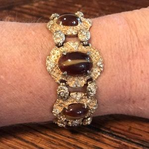 Hobe gold tone bracelet with givre glass stones